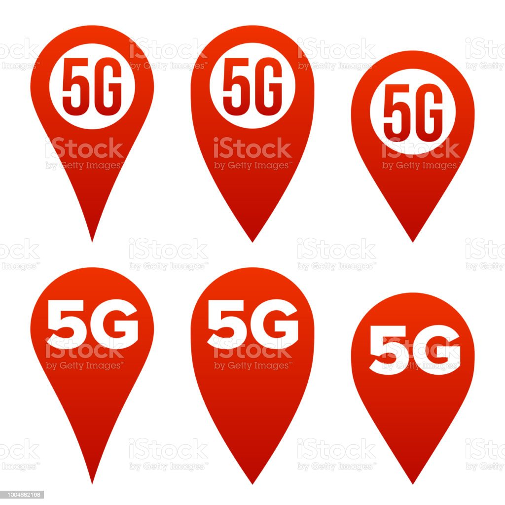 5G Pointer Sign Set Vector. Red Icon. Internet Wi-Fi Connection Standard. Speed Sign. Wireless Internet Network Future Technology. Isolated Illustration vector art illustration