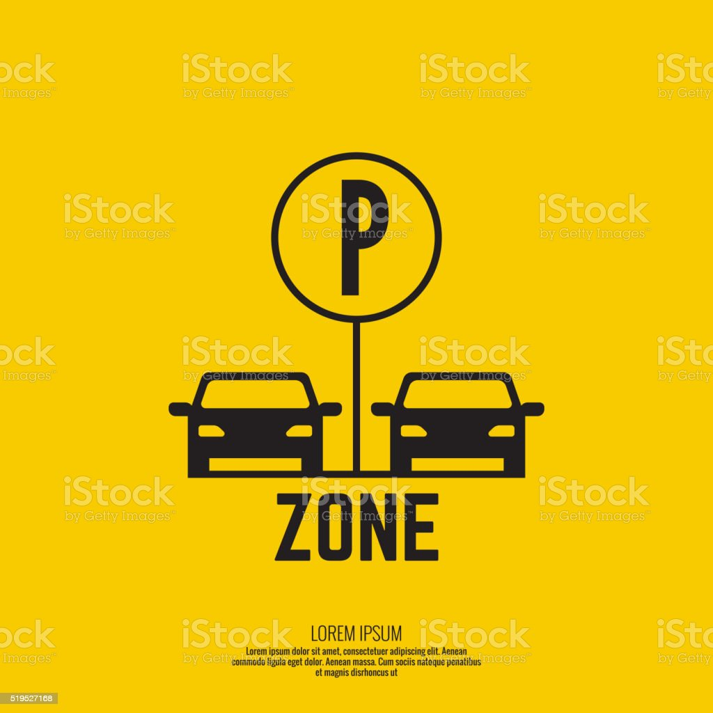 Pointer to the car parking zone. vector art illustration