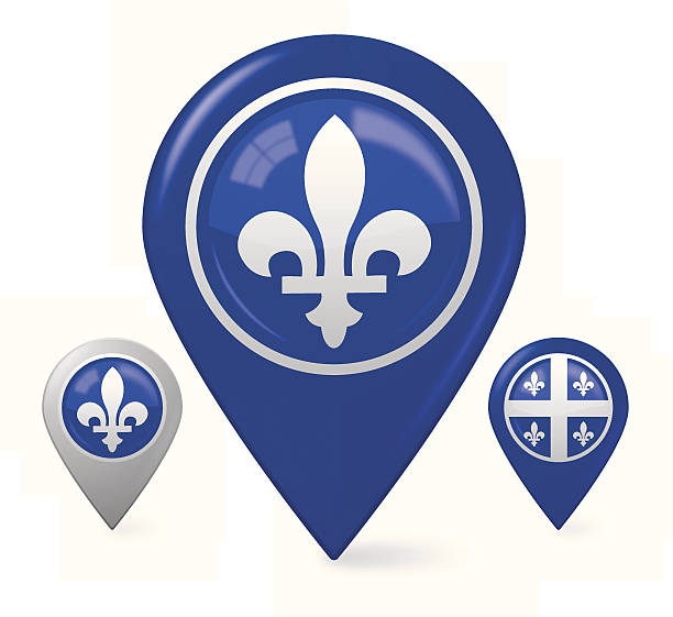 Pointer with Quebec flag Eps10. This illustration contains transparent and blending mode objects. Aics3 and jpg files are included. quebec stock illustrations