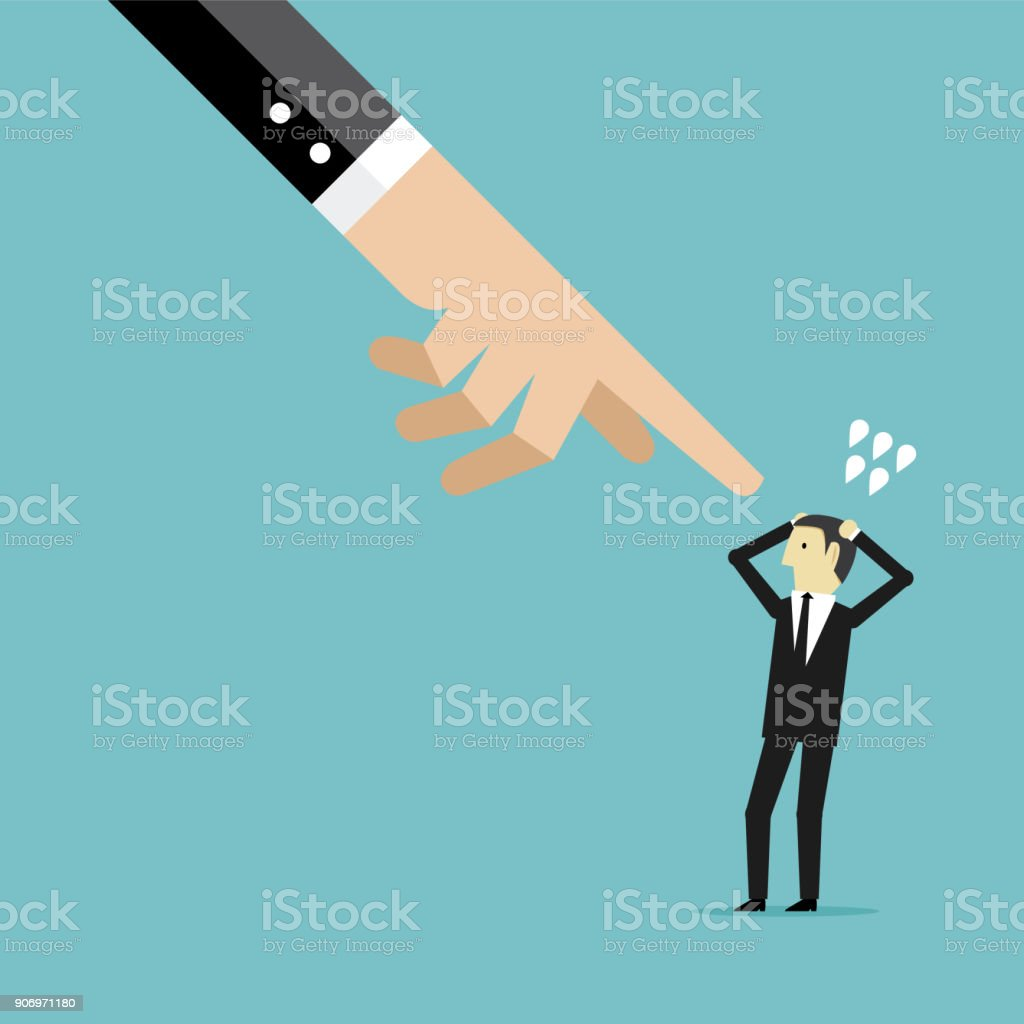Pointing a businessman vector art illustration