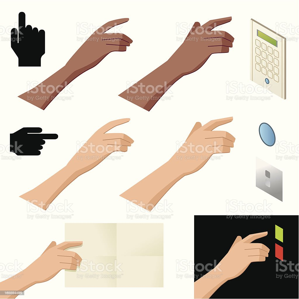 Pointing and Pressing Fingers royalty-free stock vector art