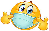 istock Pointing at himself emoticon with medical mask 1270960583