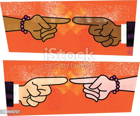 Blame. Stylized illustration of a heterosexual couple pointing their fingers at each other. Check out my