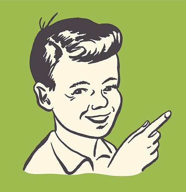 Pointing Boy Pointing Boy kitsch stock illustrations