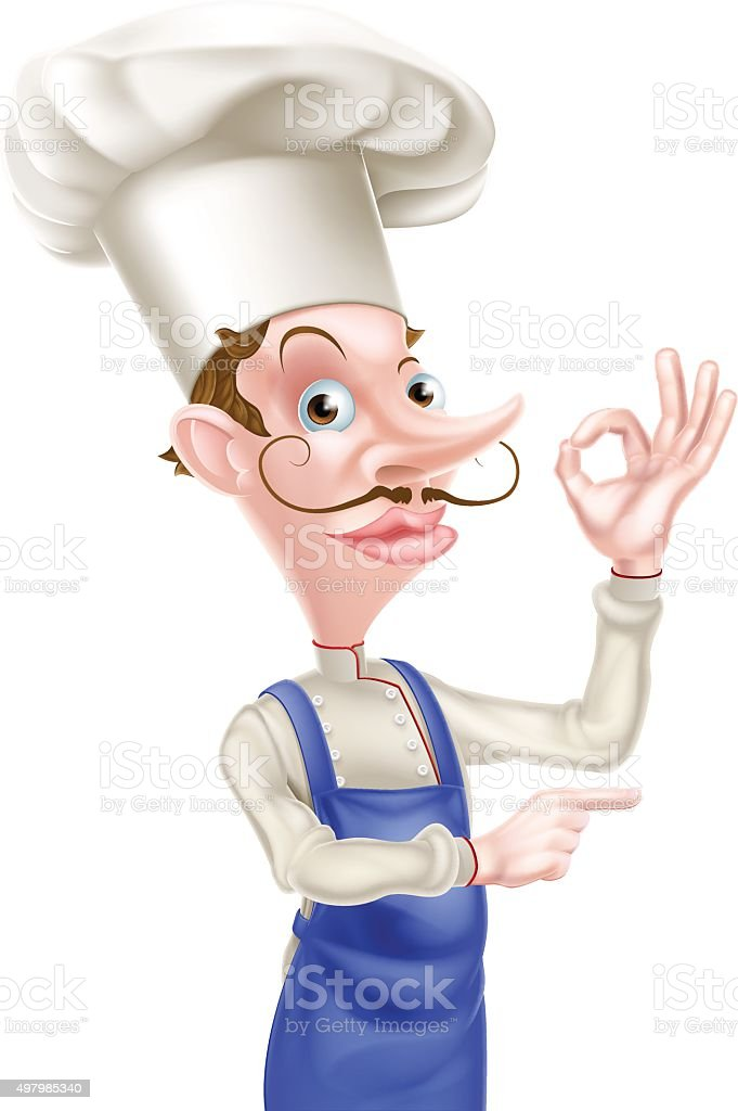 Pointing Chef Perfect Sign vector art illustration