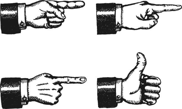 Pointing Finger And Thumbs Up Sign Illustration of a sketched set of businessman black hands with index finger pointing, and giving a thumbs up, isolated on white pointing stock illustrations