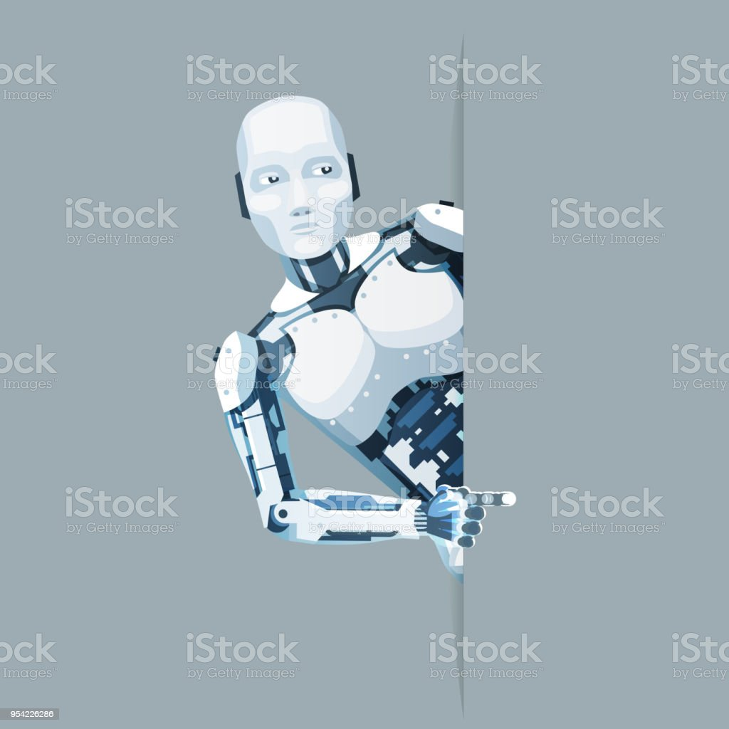 Pointing finger hand android robot look out corner online help technology science fiction future sale 3d design vector illustration