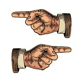Pointing finger. Hand sign for web, poster, info graphic