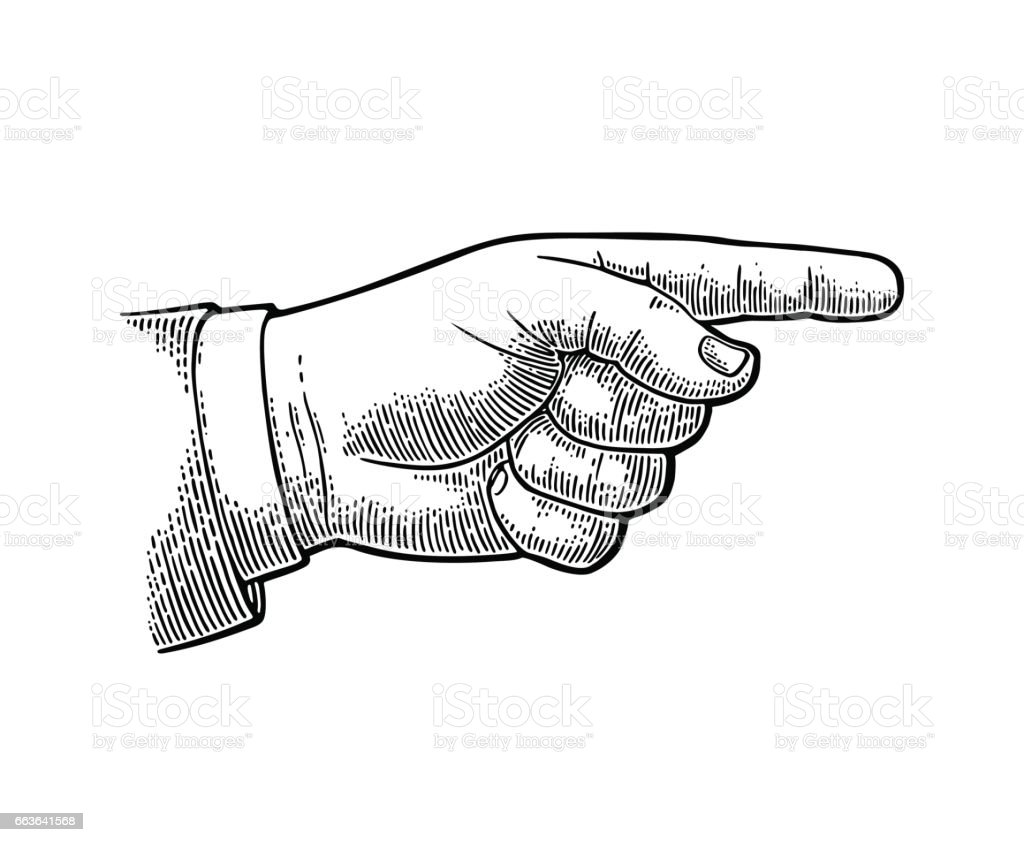 Pointing finger. Hand sign for web, poster, info graphic vector art illustration