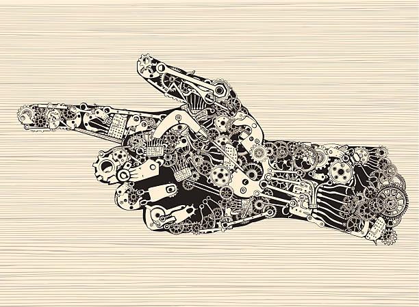 Pointing Finger Mechanic Hand. vector art illustration