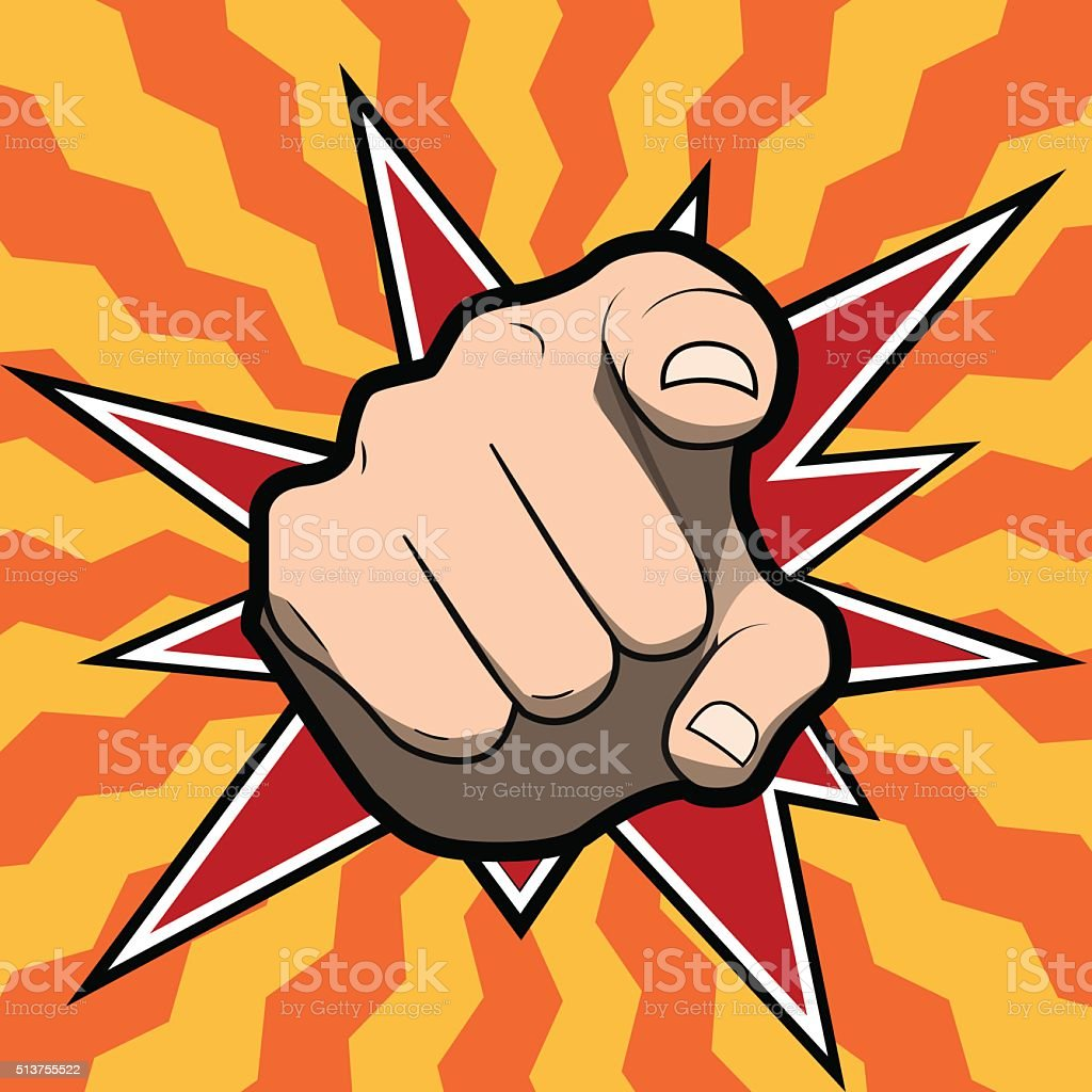 Pointing finger or hand pointing icon isolated on colored background vector art illustration