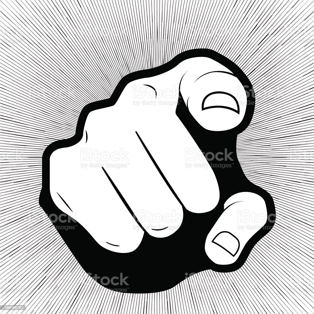 Pointing finger or hand pointing icon isolated on grey background vector art illustration