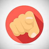 Pointing Finger Potential Client Politician Businesman Elected Icon Concept Flat