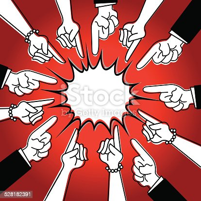Stylized illustration of two people pointing their fingers at each other. Check out my