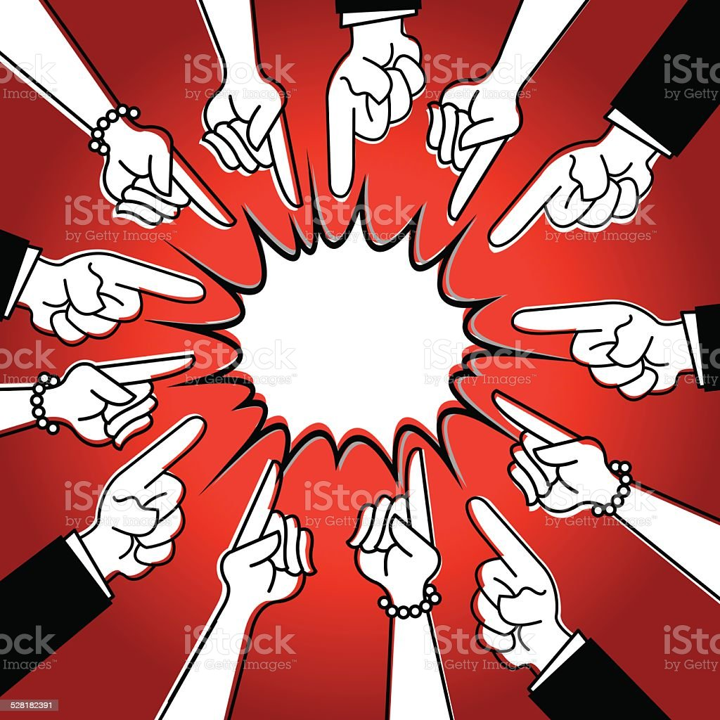 Pointing Finger - Question, Answer, Blame vector art illustration