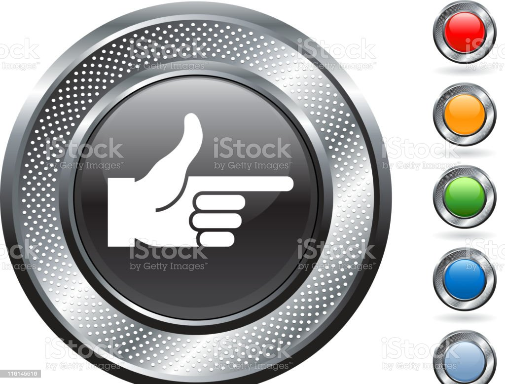 pointing finger royalty free vector art on metallic button royalty-free stock vector art