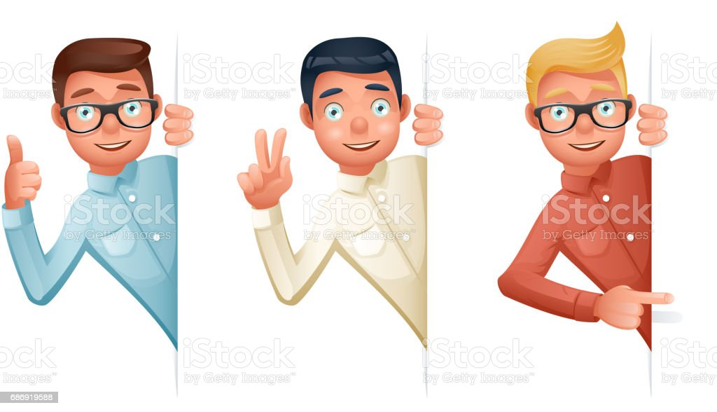 Pointing Finger Support Help Looking Out Corner Idea 3d Cartoon Businessman Characters Set Icon Solution Symbol Retro Vintage Design Isolated Vector Illustration vector art illustration