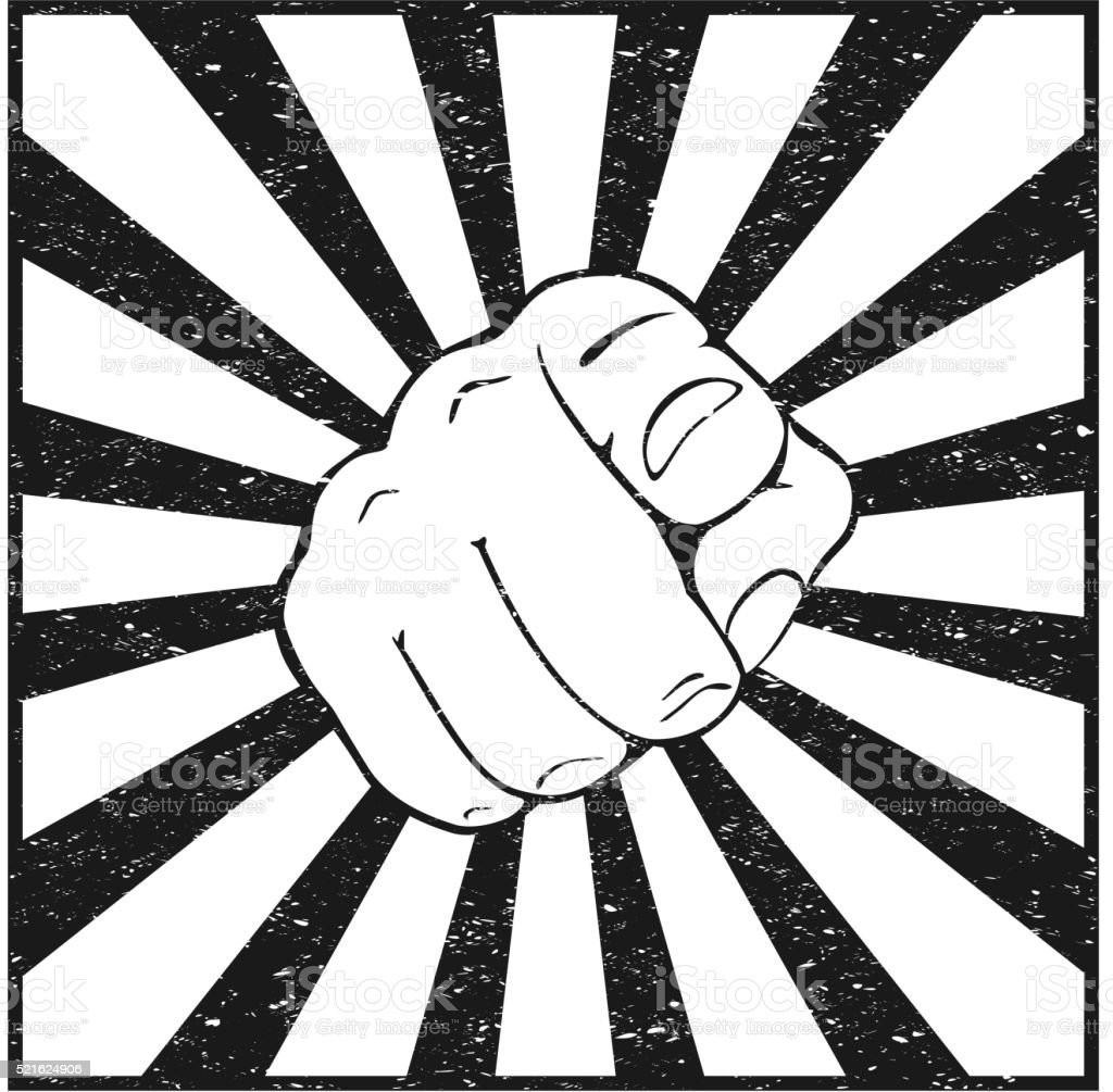 Pointing finger vector art illustration