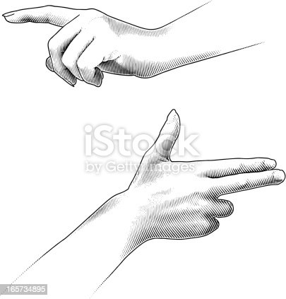 Engraving style illustration of gesturing fingers including pointing and shooting. Great for use as design elements. Fully editable vector art.