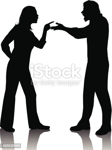 Silhouette of a couple in a fight. Files included - ai (version 8 and CS3) and eps (version 8)