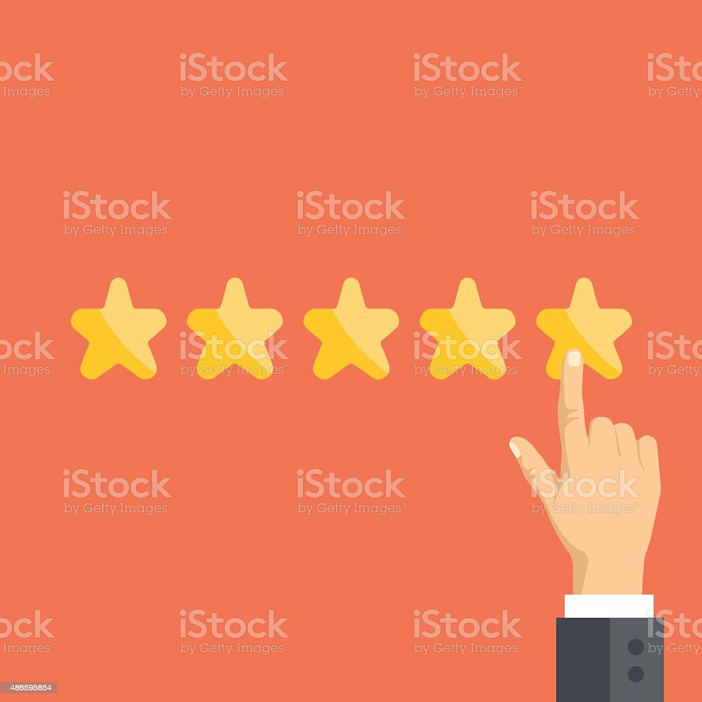 Pointing hand and five stars. Customer reviews, user feedback concept vector art illustration