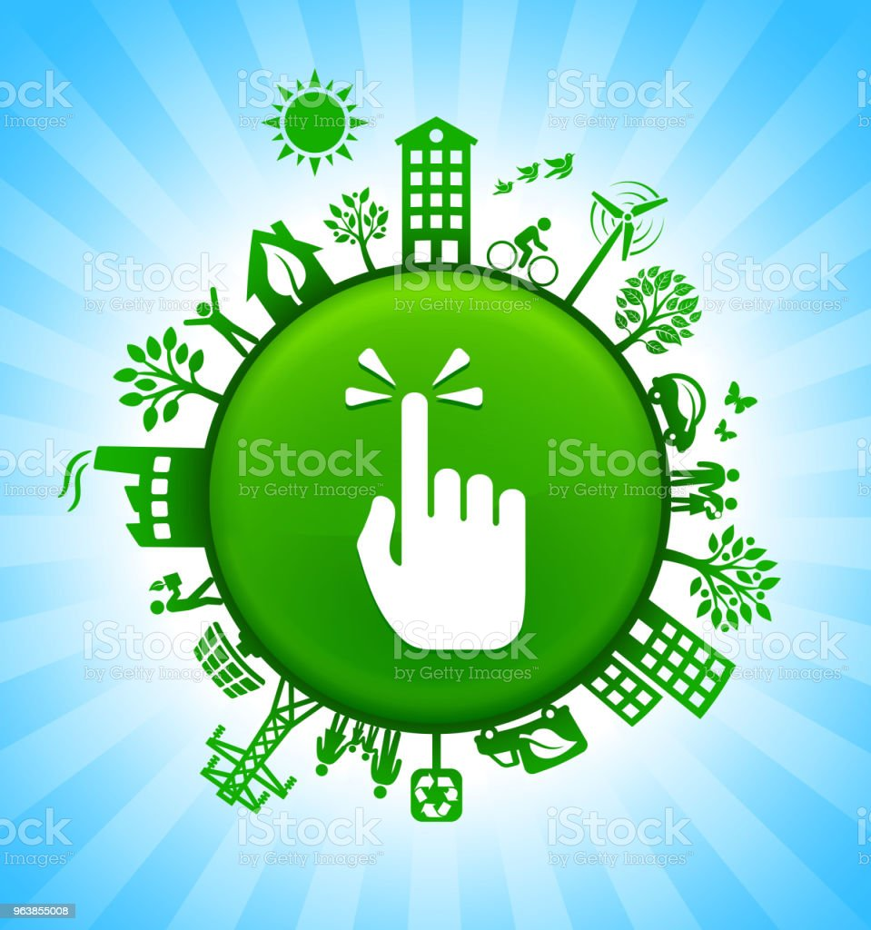 Pointing Hand Environment Green Button Background on Blue Sky - Royalty-free Alternative Energy stock vector