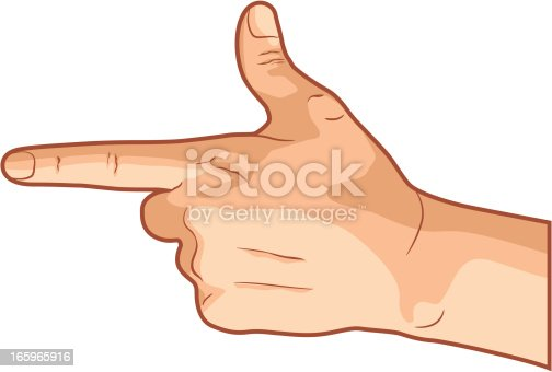 Vector illustration of a pointing hand gesture, isolated on white background.