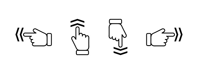 Pointing hand set. Hand pointing in different sides. Hand gestures. Gastures set. Different sides. Pointer icon. Arrow icon. Cursor icon vector set. Pointing finger icon. Yellow background.