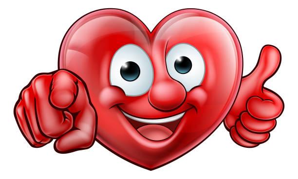 ilustrações de stock, clip art, desenhos animados e ícones de pointing heart cartoon character - coração fraco