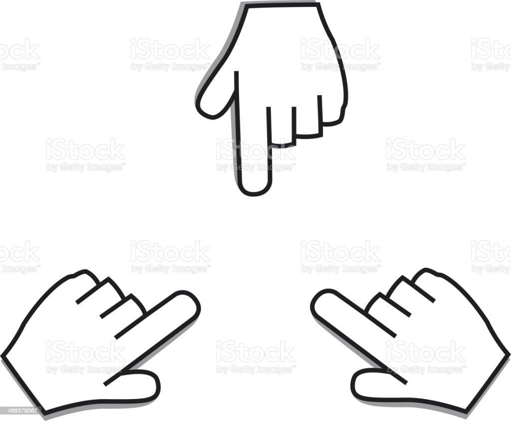 Pointing icon, Hand Cursor vector art illustration