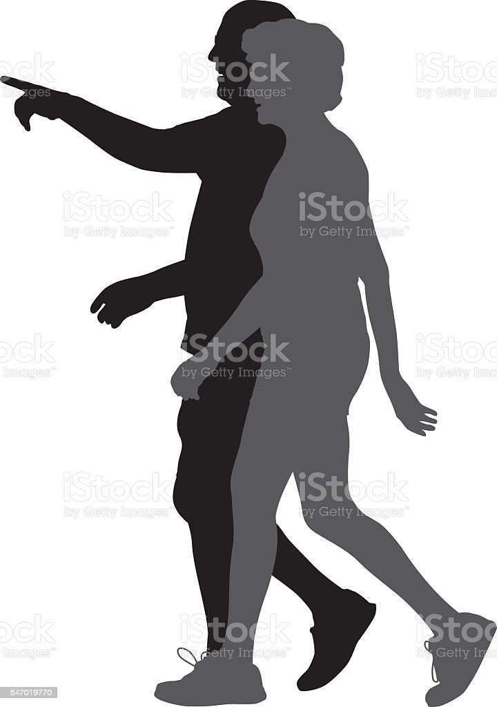 Pointing Man Walking With Woman. vector art illustration