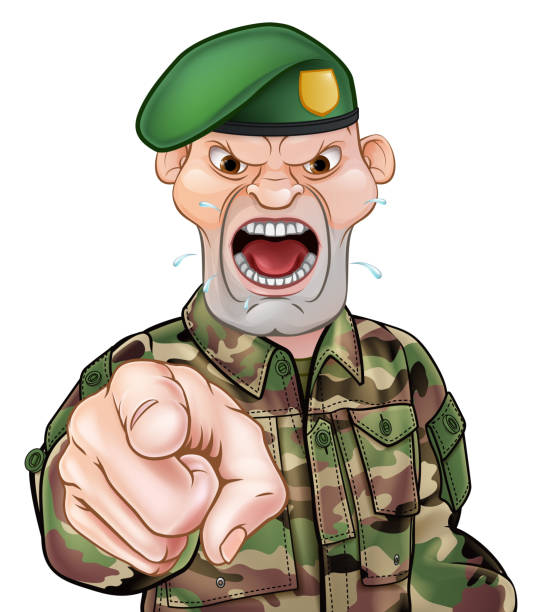 Pointing Soldier Cartoon A tough looking pointing soldier cartoon character wearing a green beret sergeant stock illustrations