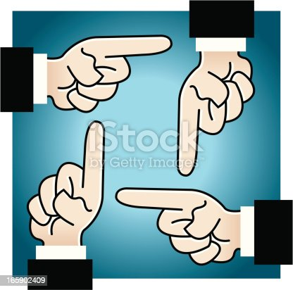 Stylized illustration of four people pointing their fingers at each other. Check out my