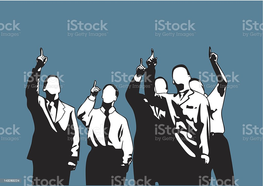 Pointing to the sky (vector) vector art illustration