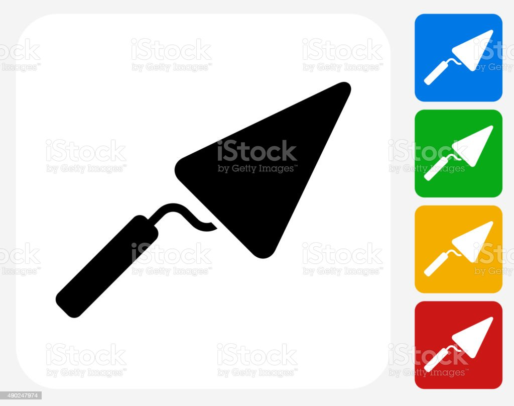 Pointing Trowel Icon Flat Graphic Design vector art illustration