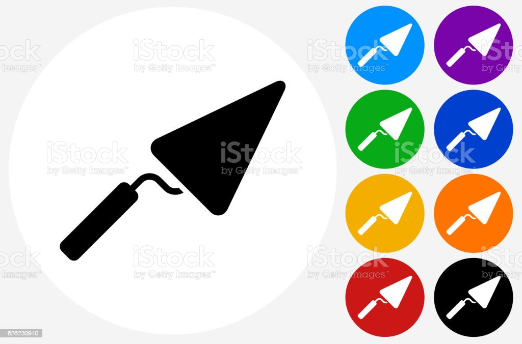 Pointing Trowel Icon on Flat Color Circle Buttons vector art illustration