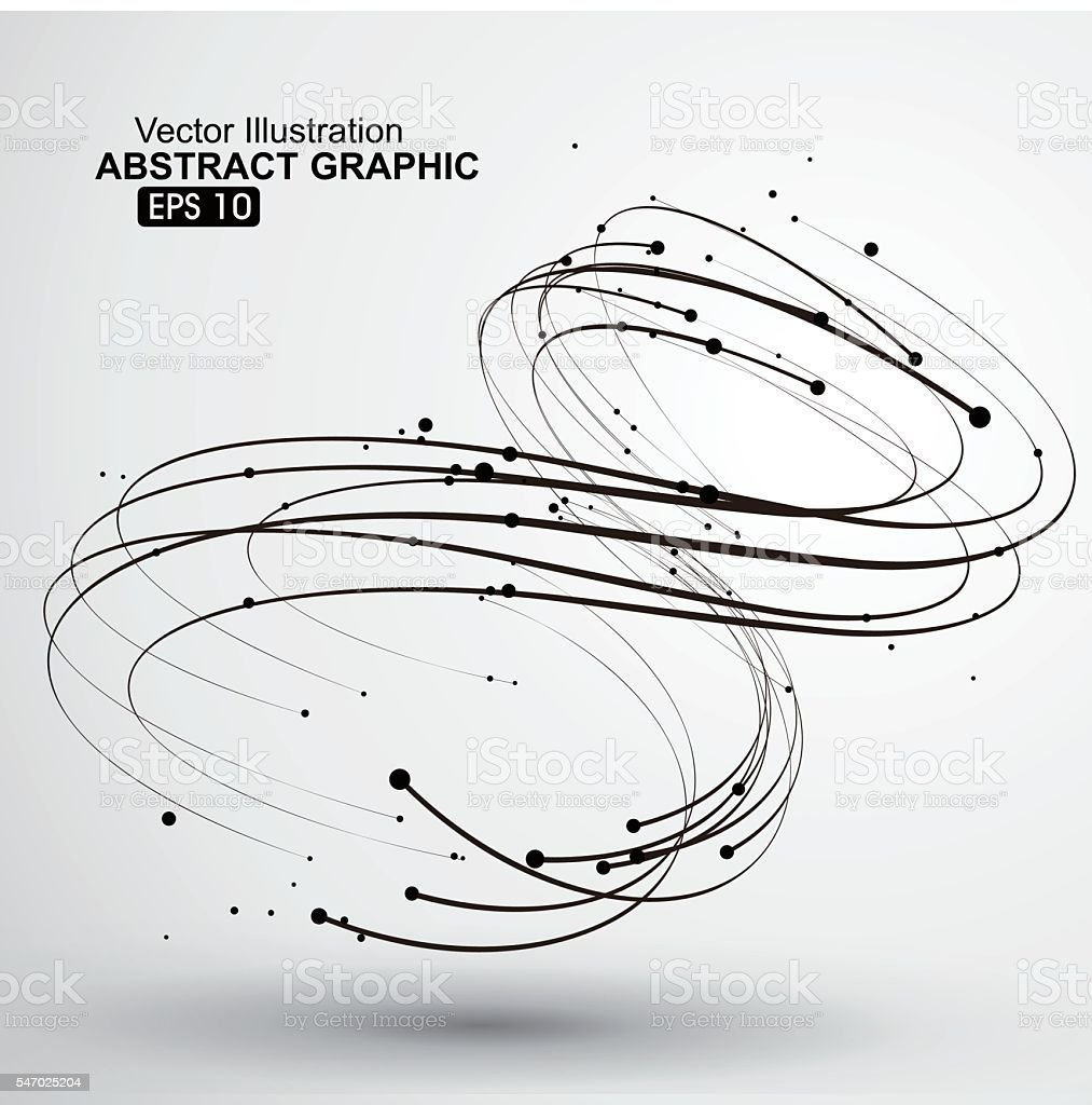 Points and curves of spiral abstract graphics. vector art illustration