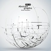 Points, curves, surfaces formed wireframe sphere, science and technology abstract illustration.