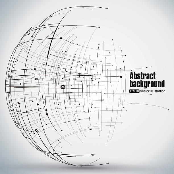 Points, curves, surfaces formed wireframe sphere. – Vektorgrafik