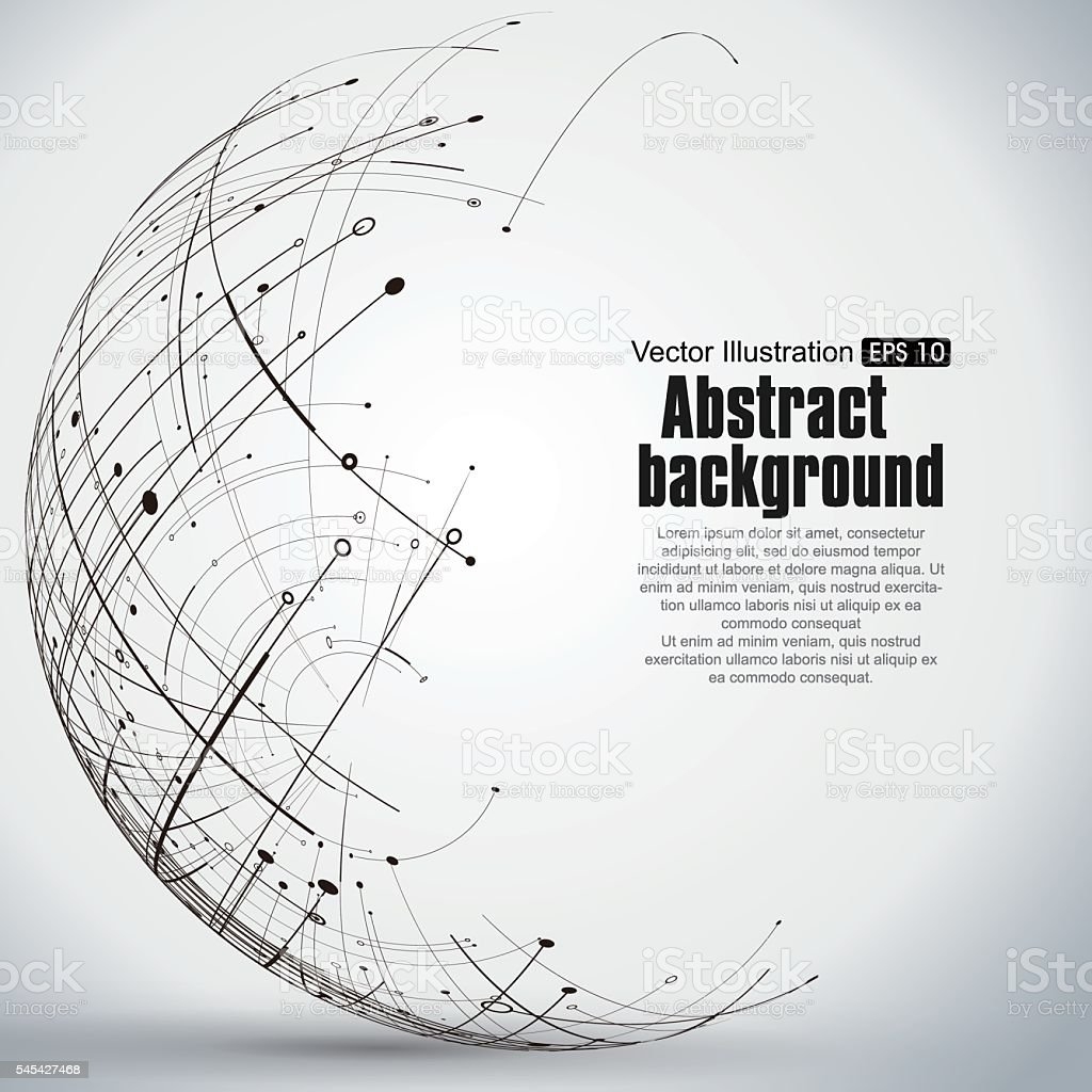 Points, curves, surfaces formed wireframe sphere. - ilustración de arte vectorial