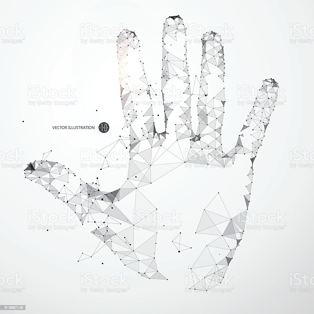 Points, lines, and faces form the shape of the palm. vector art illustration