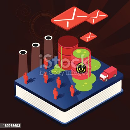 An illustration of a blue book with poison, toxic slime, truck and red envelopes.