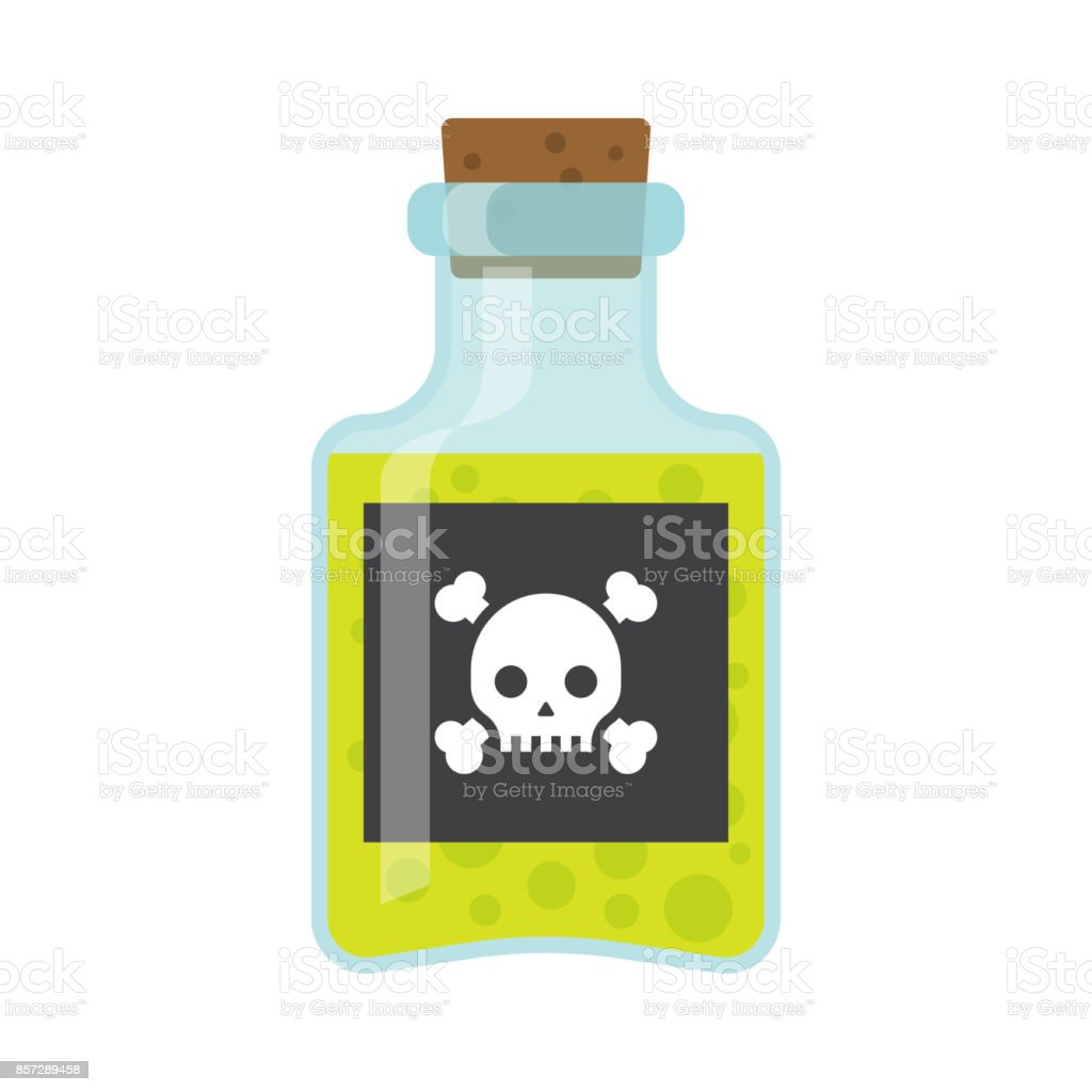 Poison bottle vector flat icon vector art illustration