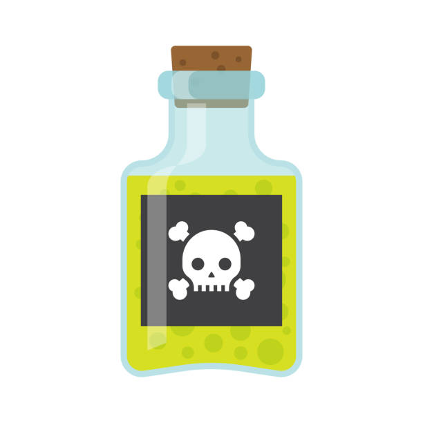 Poison bottle vector flat icon Bottle of poison icon in flat style isolated on white background. vector illustration poisonous stock illustrations