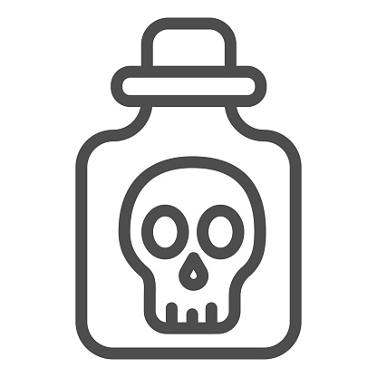 Poison in bottle line icon, halloween concept, bottle with skull sign on white background, vial with dangerous liquid icon in outline style for mobile concept, web design. Vector graphics.