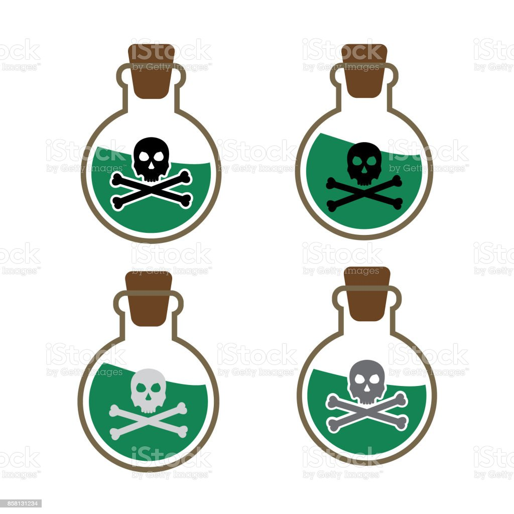 Poison or venom bottle with skull and crossbones vector icon set isolated on white background
