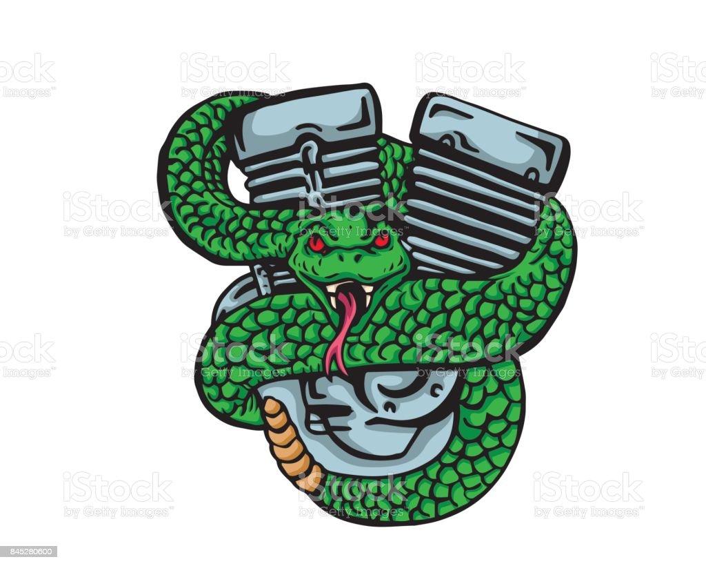 Poison Rattle Snake And Motorcycle Engine Illustration vector art illustration