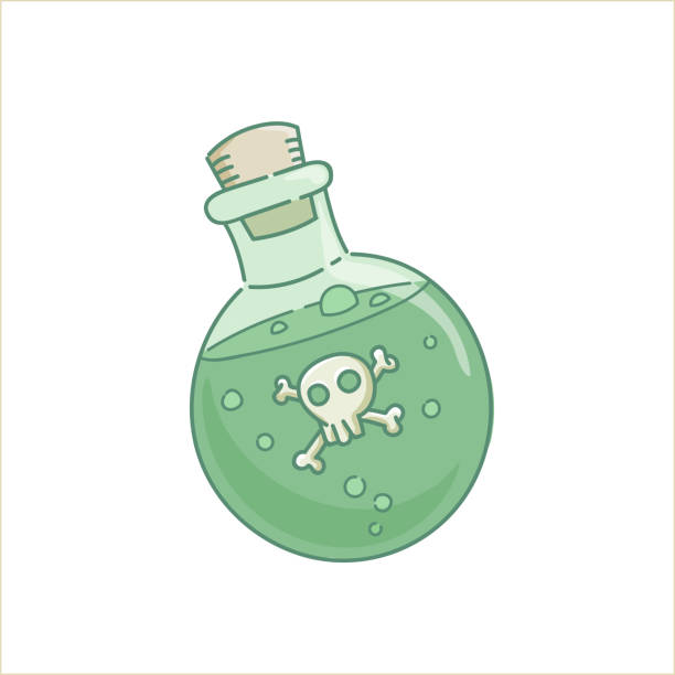 Poison venom potion glass bottle Poison venom potion gin lass bottle green liquid spell with scull for holiday Halloween vector isolated on white poisonous stock illustrations