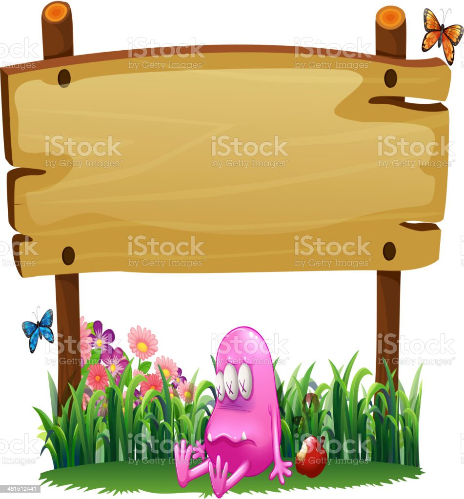 poisoned pink monster under empty wooden signboard royalty-free stock vector art