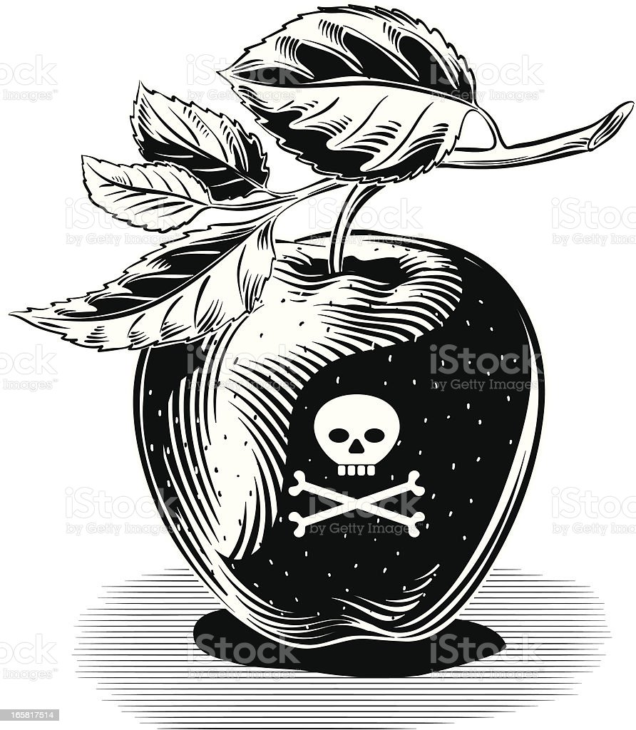 poisoned red apple royalty-free stock vector art